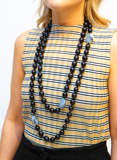 MONIES | Chalcedon Ebony Beaded Necklace