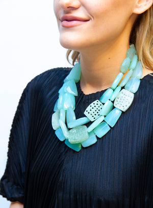 MONIES | Mountain Crystal & Jade Layered Necklace