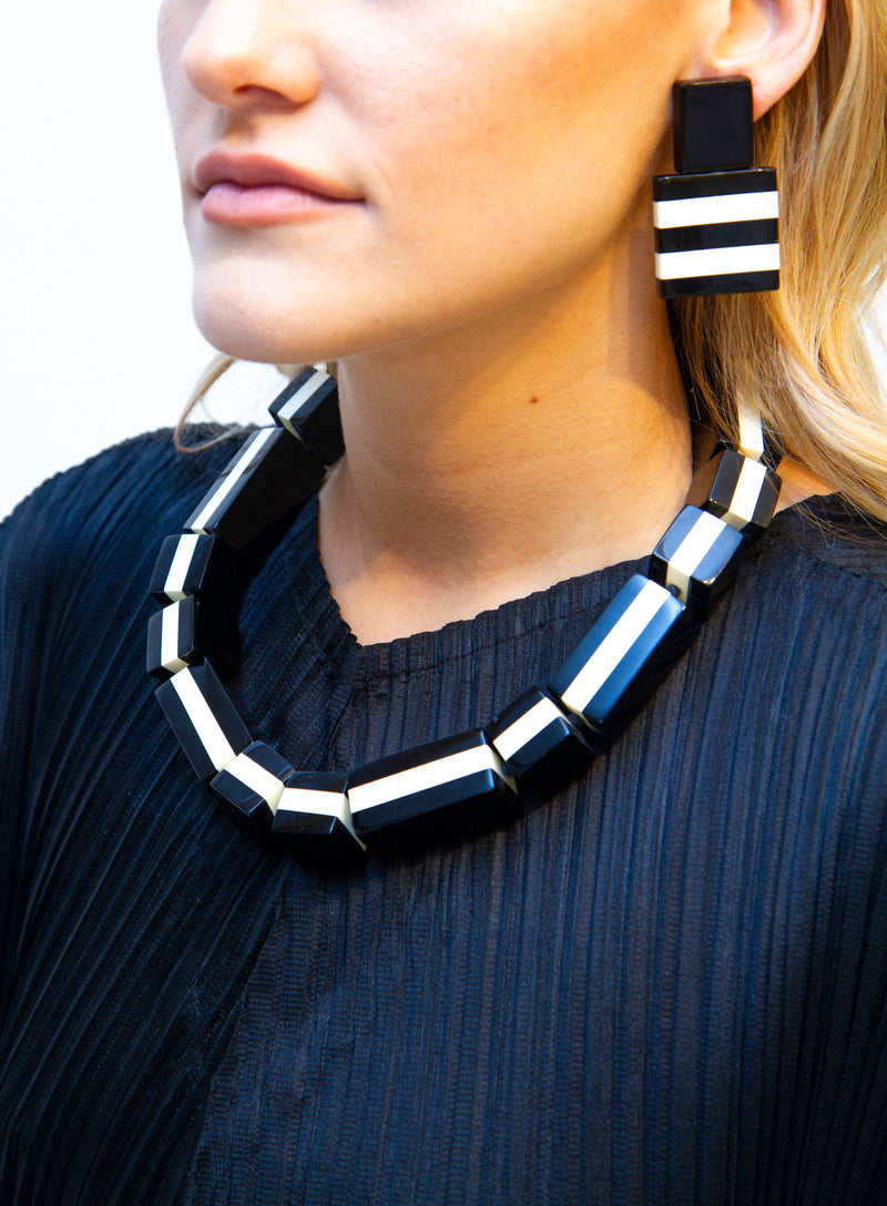 MONIES | Black & White Domino Necklace