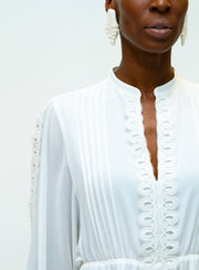 GIAMBA | Embroidered Detail Dress in White