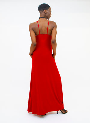 NORMA KAMALI | Women's Slip A-Line Long Dress in Red