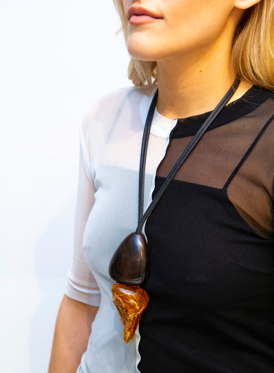 MONIES | Amber/Ebony Pendant Necklace On Leather