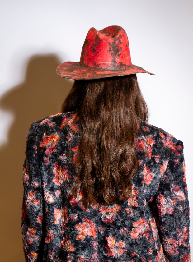REINHARD PLANK | 'Norma' Marble Waxed Lapin Hat in Red
