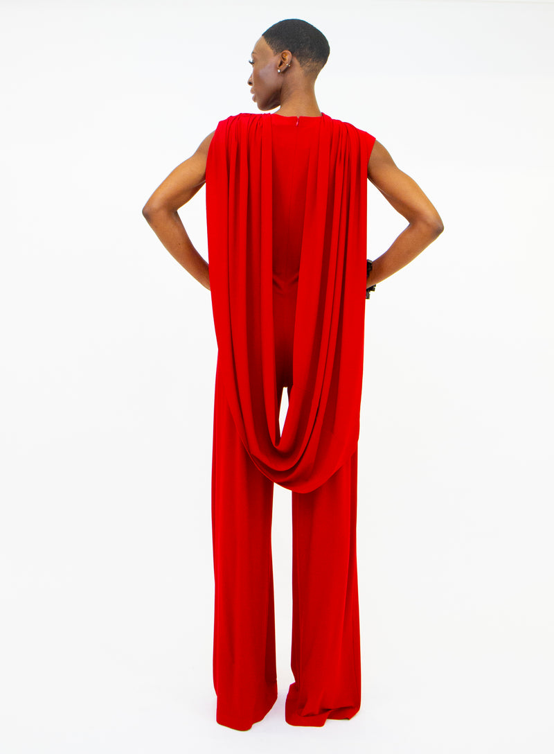 NORMA KAMALI | Sleeveless Draped Jumpsuit in Red