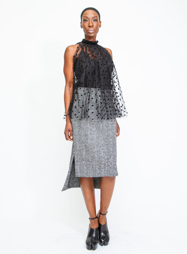 N°21 | Herringbone Tweed Step-Hem Skirt