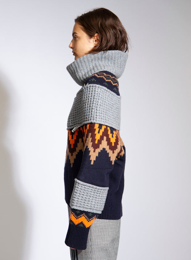 SACAI | Fair Isle Sweater With Removable Turtleneck
