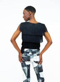 NORMA KAMALI | Cropped Sleeveless Fringe Top
