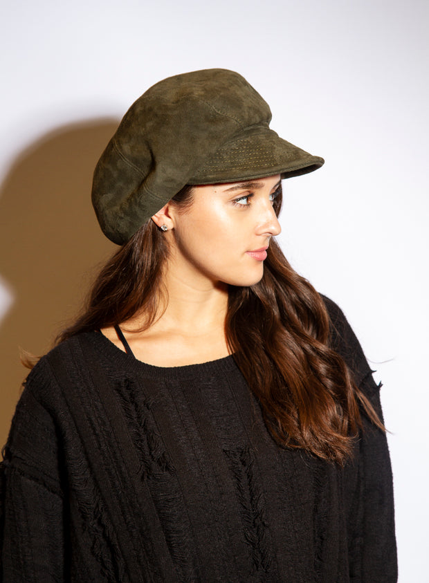 KOKIN | Suede Cap in Olive Green