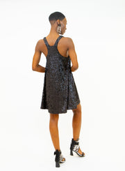 NORMA KAMALI | All Over Sequin Racer Flared Swing Dress