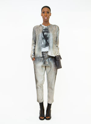 AVANT TOI | Degradè Studded Silver Mesh Trousers
