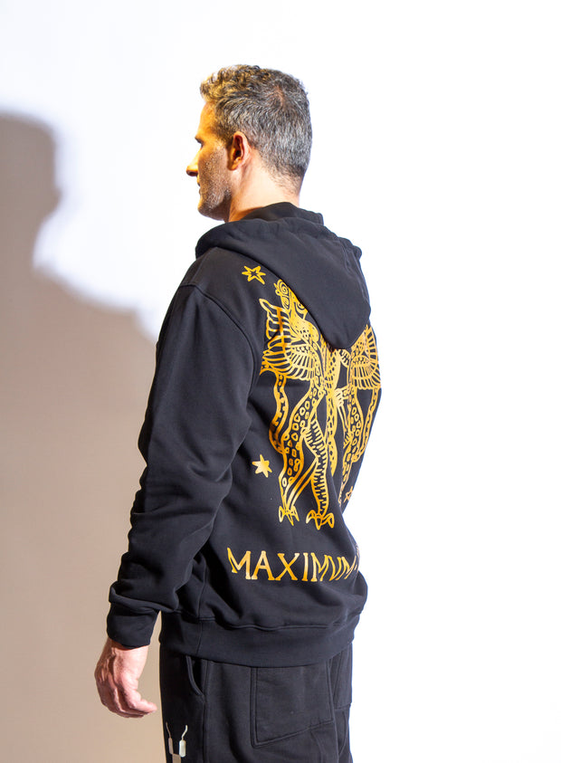 MOSCHINO | Roman Print Zip-Up Hooded Sweatshirt