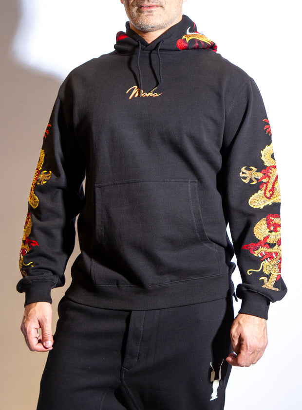 MAHARISHI | Golden Sun Hooded Sweatshirt with Embroidery in Black