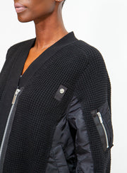 SACAI | Black Deconstructed Zip-Up Sweater