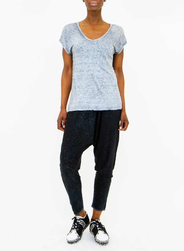 AVANT TOI | V-Neck Linen T-Shirt in Light Grey