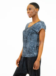 AVANT TOI | V-Neck Linen T-Shirt in Grey