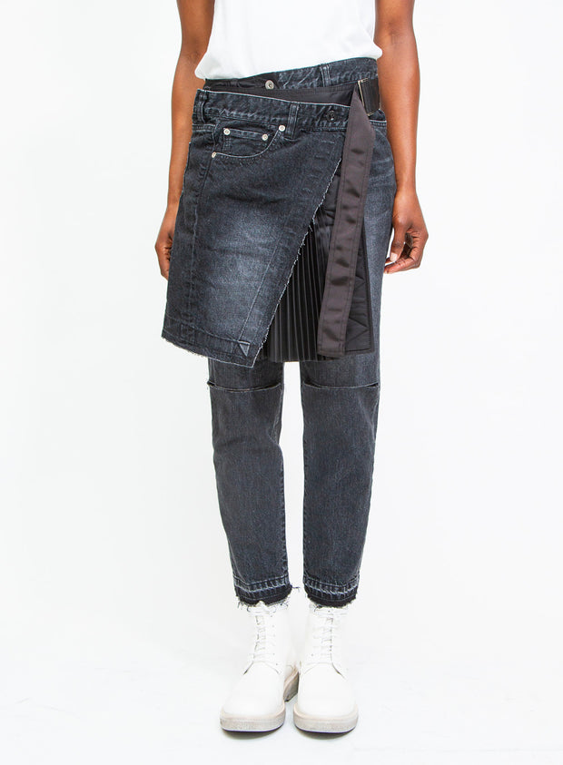 SACAI | Pleated Wrap Skirt & Denim Pants Combo