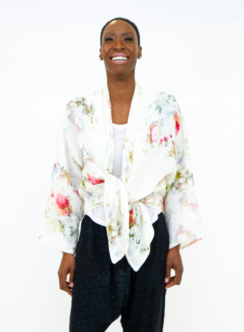 AVANT TOI | Floral Printed Tie Front Shawl Cardigan