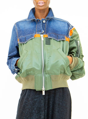 SACAI | Utility Denim Bomber Jacket