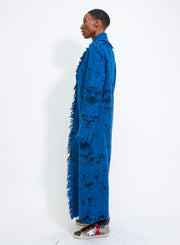 AVANT TOI | Virgin Wool and Alpaca Dyed Persian Stitch Long Coat in Deep Blue