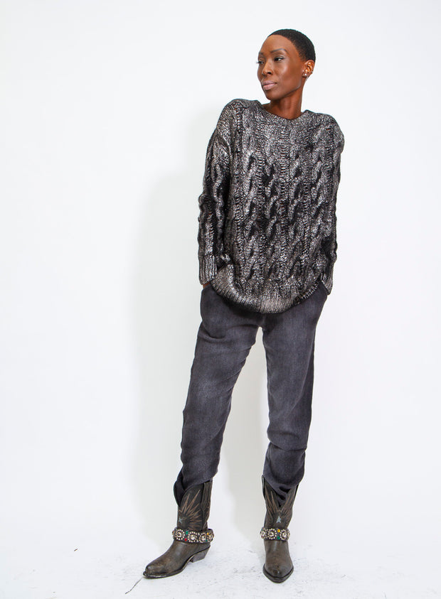 AVANT TOI | Brushed Cashmere Sweater in Black/Silver