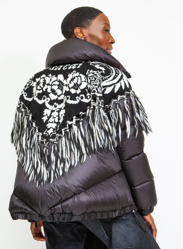 SACAI | Fringe Graphic Jacquard Down Puffer Coat in Black