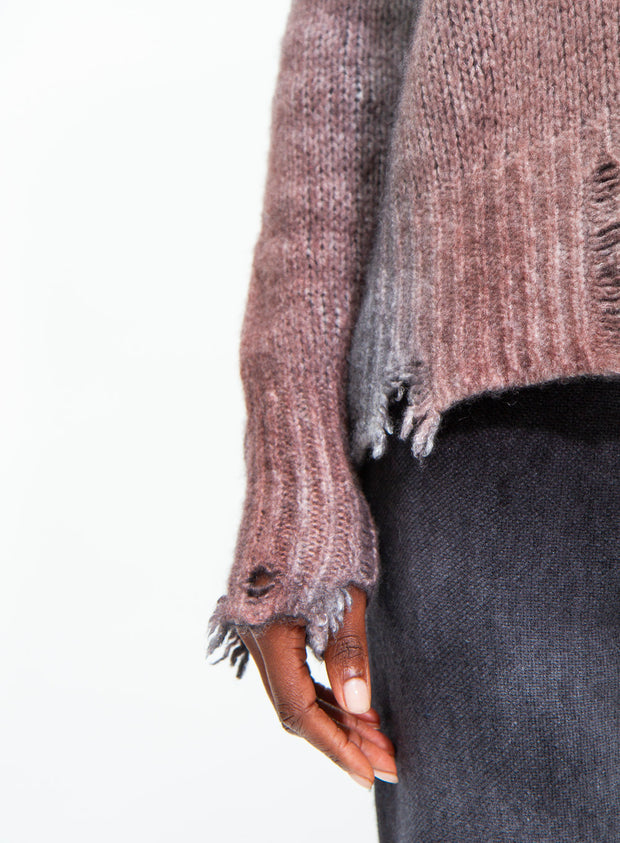 AVANT TOI | Cashmere Pullover With Destroyed Edges in Brick
