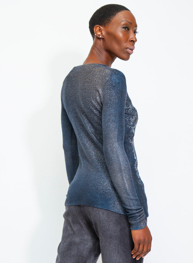 AVANT TOI | Cashmere/Silk Pullover Sweater with Lunar Studs
