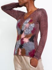 AVANT TOI | Multicolor Cashmere/Silk Pullover With Needle Punched Camo