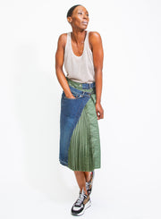 SACAI | Pleated Asymmetric Contrast-Panel Denim Wrap Skirt