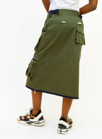 SACAI | Garbardine Utility Skirt With Patch Pockets in Khaki/Green/Navy