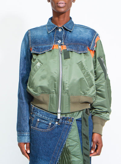 SACAI | Green/Orange/Denim Deconstructed Zip-Up Bomber Jacket