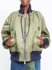 SACAI | Oversized Bomber Jacket in Green