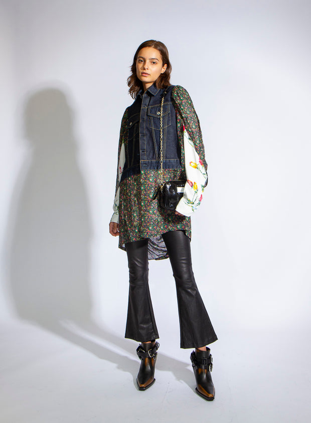 JUNYA WATANABE | Cotton Denim x Viscose Georgette Print Jacket