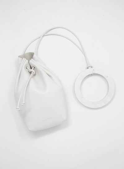 JIL SANDER | Drawstring Leather Mini Pouch Bag in Natural