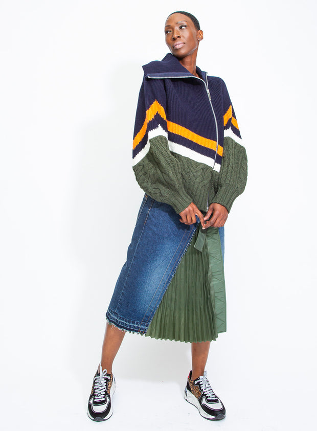 SACAI | Wool Knit Zip-Up in Navy/Green/Orange