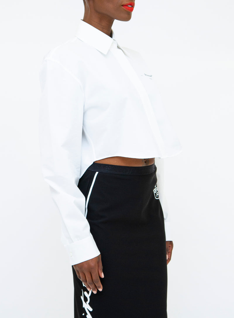 OFF-WHITE | Graphic Cropped Button-Front Long Sleeve Top