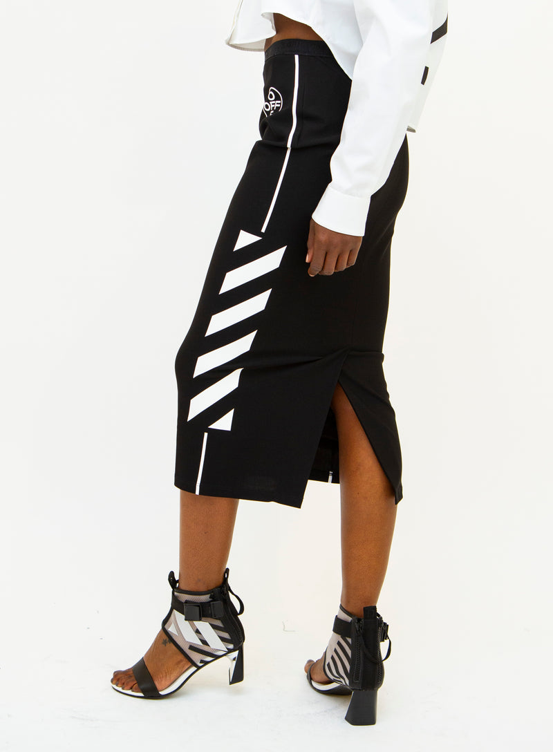 OFF-WHITE | Diagonal-Striped Graphic Skirt