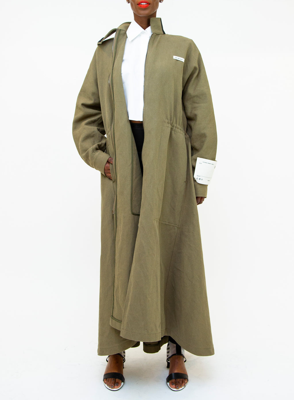 OFF-WHITE | Green Canvas Military Coat