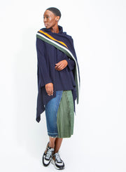SACAI | Wool Knit Sweater in Navy/Green/Orange