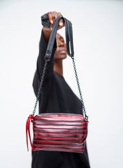 DANIELLA LEHAVI | Stevens Striped Mini Bag in Frida Ruby Red