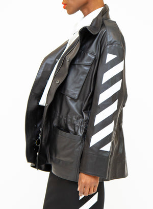 OFF-WHITE | Paneled Diagonal Stripes Leather Biker Field Jacket in Black
