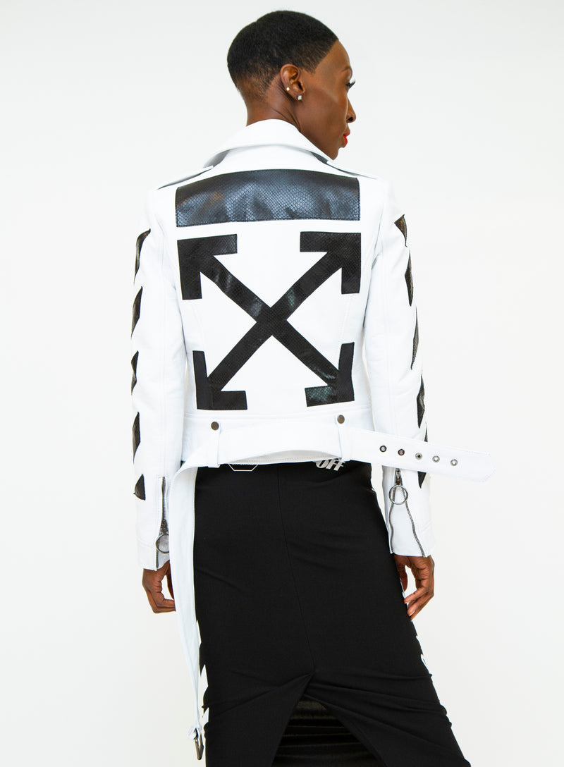 OFF-WHITE | Paneled Diagonal Stripes Leather Biker Jacket in White