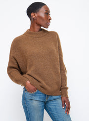 DUŠAN | Cashmere & Silk Round Neck Sweater in Camel