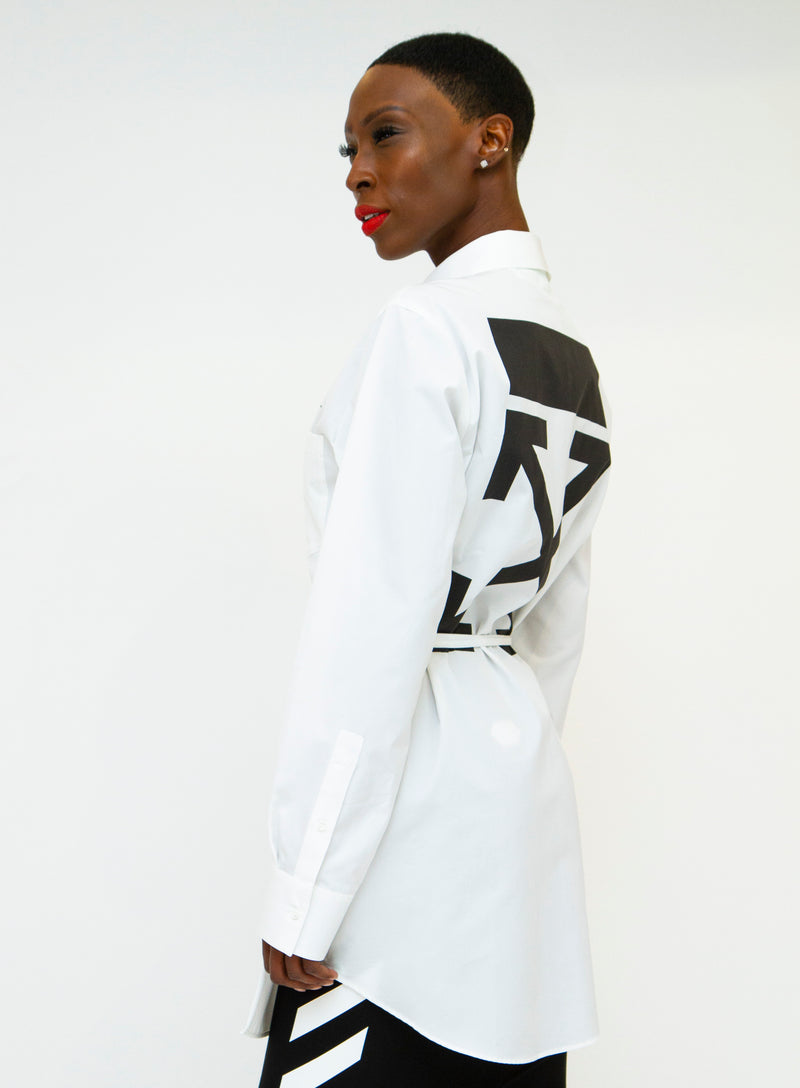 OFF-WHITE | Graphic Button-Front Long Sleeve Wrap Top
