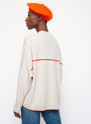 DUŠAN | Cashmere Sweater in Ivory/Orange
