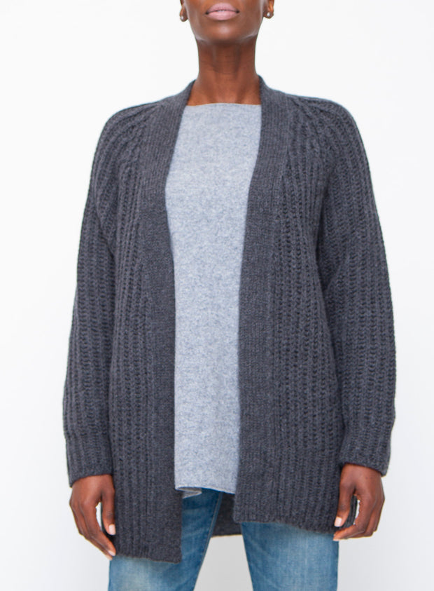 DUŠAN | Wool/Alpaca Boyfriend Cardigan in Charcoal Grey