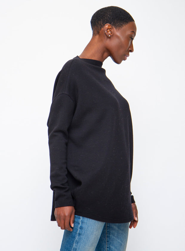 DUŠAN | Black Relaxed Tunic Sweater