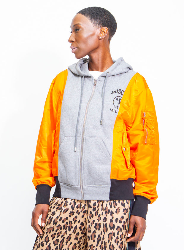 MOSCHINO | Unisex Fantasy Print Colorblock Zip-Up Sweatshirt