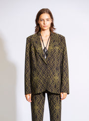 NORMA KAMALI | Single Breasted Blazer Jacket in Olive Green