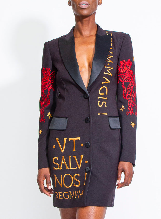 MOSCHINO | Fantasy Print Embroidered Blazer Dress